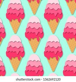 Seamless pattern of Ice cream cones. 3d vector. Paper cut style. Summer dessert.