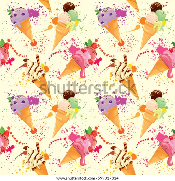 Seamless pattern with Ice cream cones with glaze, Chocolate, strawberry, blueberry and cherry, on light yellow background with bright colors drops. Grunge style.