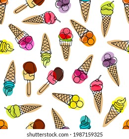 Seamless pattern with Ice Cream. Different versions Ice Cream reteated Vector illustration. Frozen Food template for cafe, restaurant menu, textile, wallpaper, t-shirt design, scrapbooking, invitation