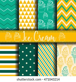 Seamless pattern with ice cream Vector Background Set of seamless backgrounds. Vector image for kids