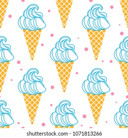 Seamless pattern with ice cream in a waffle horn. Excellent illustration for printing on children's clothing, wrapping paper, fabric, labels on other surfaces.