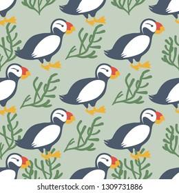 Seamless pattern Icelandic puffin bird, moss isolated on green background, vector cartoon decoration illustration, Atlantic Arctic wild animal, species of seabird, flat character design for wallpaper