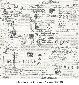 Seamless pattern with illegible scribbles imitating handwritten text on the newspaper page with sketches and blots. Vector abstract repeating background. Suitable for wallpaper, wrapping paper, fabric - Shutterstock ID 1776438029