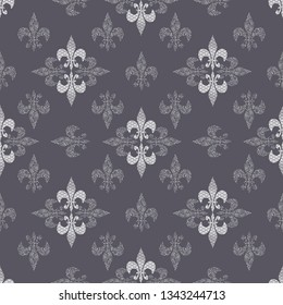 Seamless pattern illustration of abstract stylized lilies with mixed prints and optical illusion styles and 3d shapes. Smoky grey and white vector illustration.