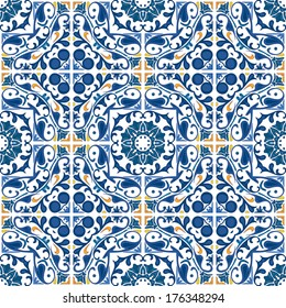 Seamless pattern illustration in blue and orange - like Portuguese tiles