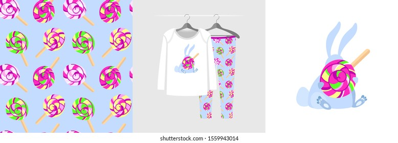 Seamless pattern and illustration with bunny hiding behind a lollipop. Cute design pajamas on hanger. Baby background for fashion clothes wear, room decor, t-shirt print, baby shower, wrapping