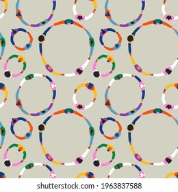 Seamless pattern illustration of diverse people group holding hands together. Colorful circle rounds background, social community cooperation or friend teamwork concept.
