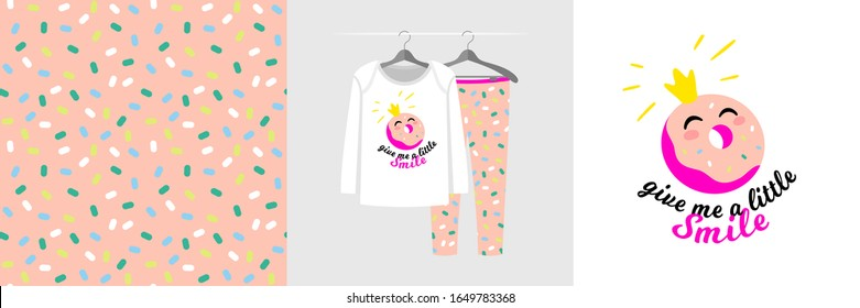 Seamless pattern and illustration with Donut, quote Give me a little smile. Cute design pajamas on hanger. Baby background for clothes, birthday decor, fashion t-shirt print, invitation card, wrapping
