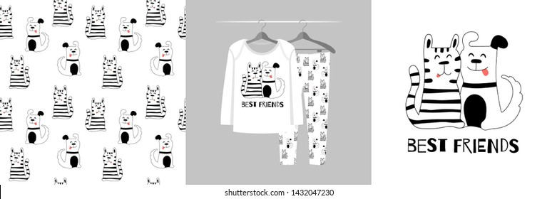 Seamless pattern and illustration for kid with cat and dog, Best friends. Cute design pajamas on hanger. Baby background for clothes, birthday decor, fashion t-shirt print, invitation card, wrapping