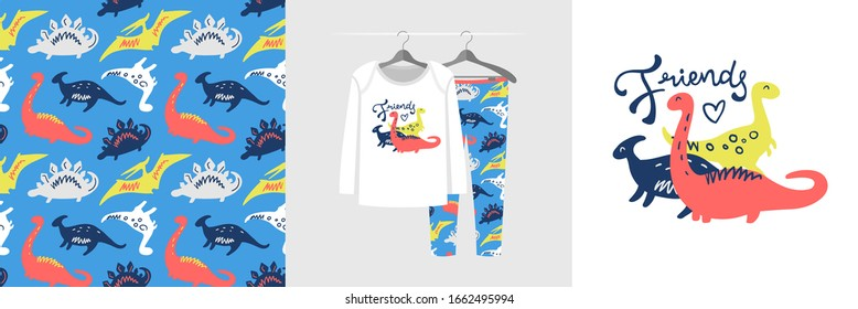 Seamless pattern and illustration for a kid with dinosaurs, text Friends. Cute design pajamas on the hanger. Baby background for fashion wear, t-shirt print, baby shower, wrapping