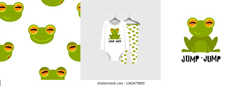 Seamless pattern and illustration for kid with frog, text Jump-jump. Cute design on pajamas mockup. Baby background for clothes wear, room decor, t-shirt, baby shower invitation, wrapping