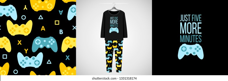 Seamless pattern and illustration for kid with game quote Just five more minutes. Cute design pajamas on hanger. Baby background for clothes, room birthday decor, t-shirt print, kids wear fashion