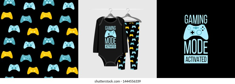 Seamless pattern and illustration for kid with gamepad and quote Gaming mode activated. Cute design pajamas on hanger. Baby background for clothes, room birthday decor, fashion t-shirt print, wrapping