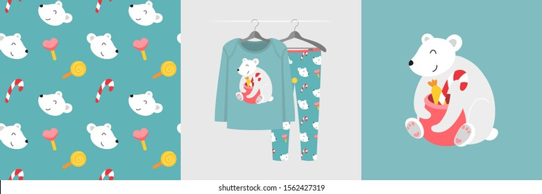 Seamless pattern and illustration for kid with polar bear and Christmas presents. Cute design pajamas on hanger. Baby background for fashion clothes wear, t-shirt print, baby shower decor, wrapping