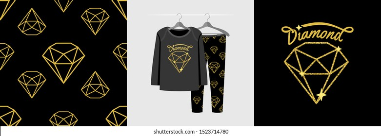 Seamless pattern and illustration for kid with shiny diamond. Cute design pajamas on hanger. Baby background for fashion clothes wear, room decor, t-shirt print, baby shower, wrapping