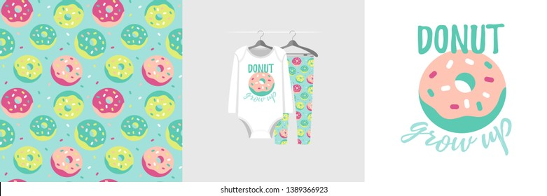 Seamless pattern and illustration for kid with sweet quote Donut grow up. Cute design pajamas on hanger. Baby background for clothes, birthday decor, t-shirt print, wear fashion, invitation card