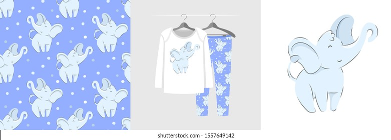 Seamless pattern and illustration for kid with sweet elephant. Cute design pajamas on hanger. Baby background for fashion clothes wear, room decor, t-shirt print, baby shower, wrapping