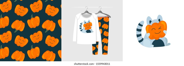 Seamless pattern and illustration with raccoon hiding behind a pumpkin. Cute design pajamas on hanger. Baby background for fashion clothes wear, room decor, t-shirt print, baby shower, wrapping