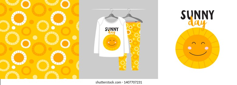 Seamless pattern and illustration set for kid with sun and Sunny day. Cute design pajamas on hanger. Baby background for clothes wear, room decor, t-shirt, baby shower invitation, wrapping