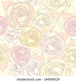 Seamless pattern with illustrations of different color roses. Delicate flowers in warm colors on a light background.