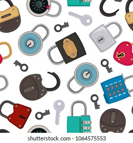 Seamless pattern with illustrations of different padlocks. Vector padlock seamless pattern for safety and security vector
