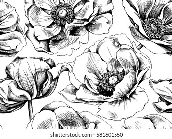 Seamless pattern with image Anemones flowers. Vector black and white illustration.