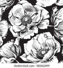 Black and white flowers outline images stock photos vectors seamless pattern with image anemones flowers vector black and white illustration mightylinksfo Gallery