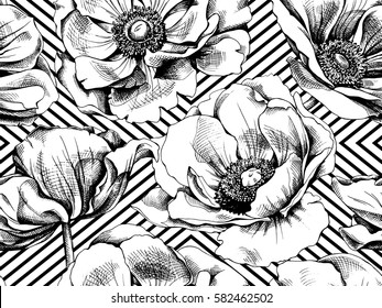 Seamless pattern with image Anemones flowers on a geometric background. Vector black and white illustration.