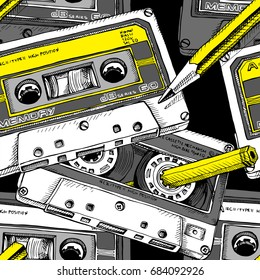 Seamless pattern with image of a Audio Cassette and a yellow pencil. Vector illustration.