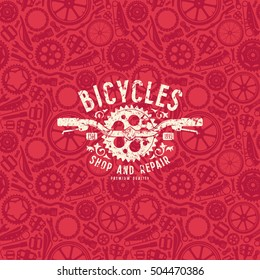 Seamless pattern with image of bicycle details. Bike shop label with shabby texture