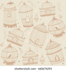 Seamless pattern with the image of birdcage and birds