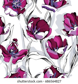 Seamless pattern with image of a Black Tulip flowers with shadow on a white background. Vector illustration.