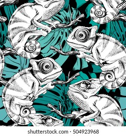 Seamless pattern with image of a Chameleon on a branch with Monstera leaf. Vector illustration.