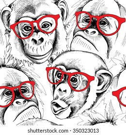 Seamless pattern with image of a character monkey portraits in red glasses. Vector illustration.