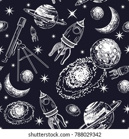 Seamless pattern with the image of cosmos. Galaxy with planets, stars, flying saucers. Astronomical background.