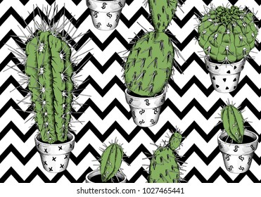 Seamless pattern with image of a different green cacti on a geometry background. Vector illustration.