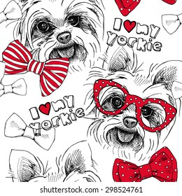 Seamless pattern with image of a dog York, bows, glasses, tie. Vector illustration.