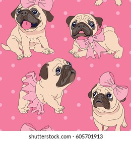 Seamless pattern with image of a Funny cartoon pugs puppies in a Ballerina tutu and with a bow on a pink background. Vector illustration.