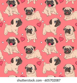 Seamless pattern with image of a Funny cartoon pugs puppies on a pink background. Vector illustration.