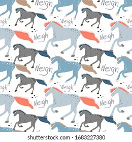 seamless pattern with the image of a galloping horse. Drawn by hand in a cartoon style. Decor for textiles and Wallpaper.