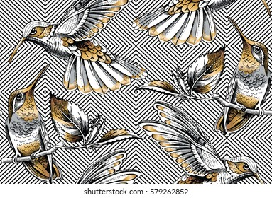 Seamless pattern with image gold Hummingbird on a geometric background. Vector illustration.
