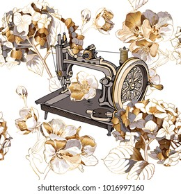 Seamless pattern with image of a gold Hydrangea, Cherry flowers and retro Sewing machine. Vector illustration.