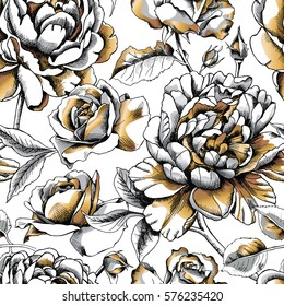 Seamless pattern with image gold Peony and Rose on a white background. Vector illustration.