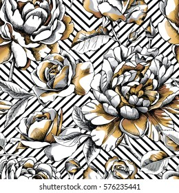Seamless pattern with image gold Peony and Rose on a geometric background. Vector illustration.