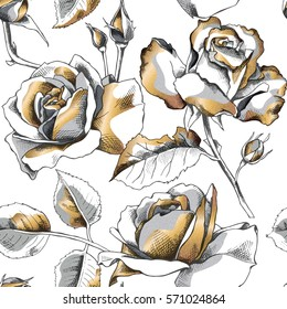 Seamless pattern with image of a gold rose flowers on a white background. Vector illustration.