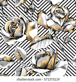 Seamless pattern with image of a gold rose flowers on a black geometric background. Vector illustration.