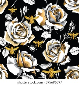 Seamless pattern with image of a gold rose flowers and glitter bees on a black background. Vector illustration.