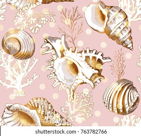 Seamless pattern with image of a gold Shell and Coral on a light pink background. Vector illustration.