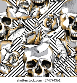 Seamless pattern with image gold skull and rose flowers on a geometric background. Vector illustration.