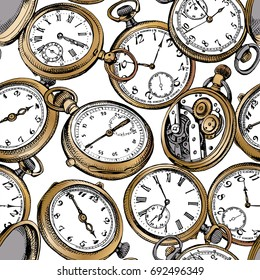 Seamless pattern with image of a gold Vintage Pocket watches. Vector illustration.